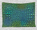 asddcdfdd Abstract Tapestry, Alligator Skin African Animal Crocodile Reptile Safari Wildlife Vibrant Artwork, Wall Hanging for Bedroom Living Room Dorm, 80 W X 60 L Inches, Green Blue