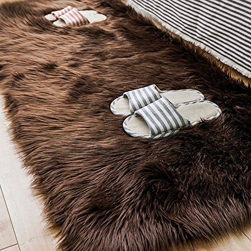 Carvapet Luxury Soft Faux Sheepskin Fur Area Rugs for Bedside Floor Mat Plush Sofa Cover Seat Pad for Bedroom, 2.3ft x 5ft,Brown ()