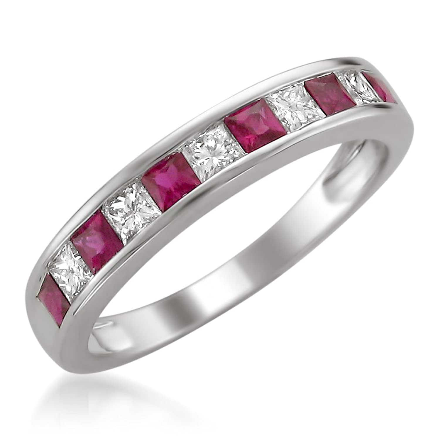 14k White Gold Princess cut Diamond and Red Ruby Wedding Band Ring