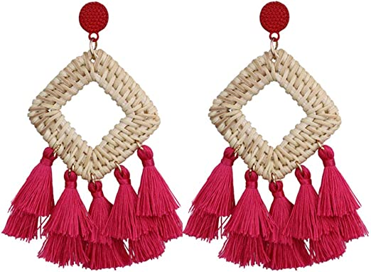 Bohemian Tassel Dreamcatcher Earrings Statement Thread Long Tassel Fringe Drop Dangle Retro Earrings Gifts for Girls /& Women