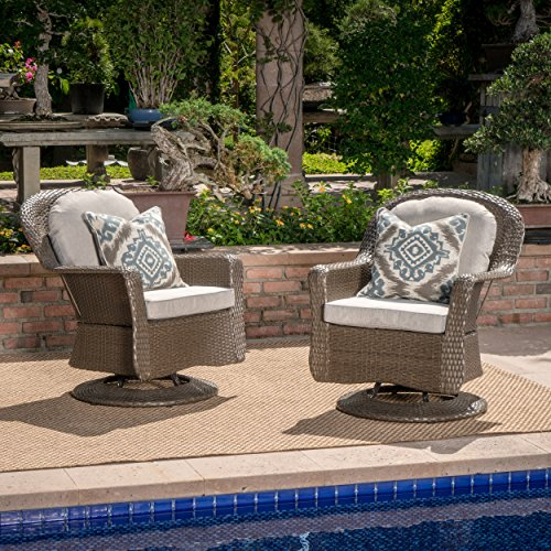Linsten Outdoor Brown Wicker Swivel Club Chairs with Ceramic Grey Water Resistant Cushions (Set of 2) For Sale