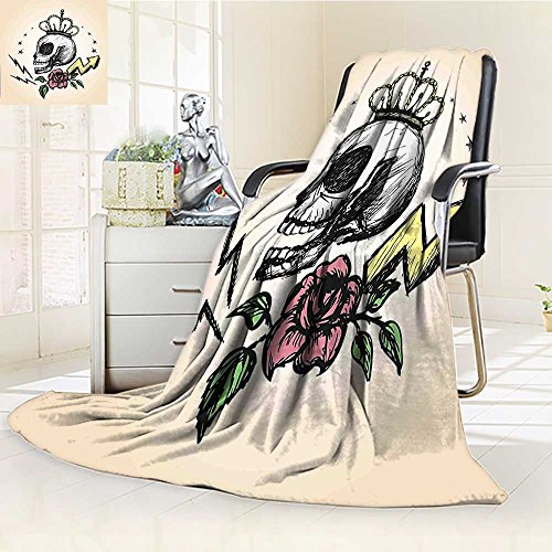 AmaPark Digital Printing Blanket Skull Mexican Folk Art Inspired Skeleton with Crown and Rose Halloween Summer Quilt -
