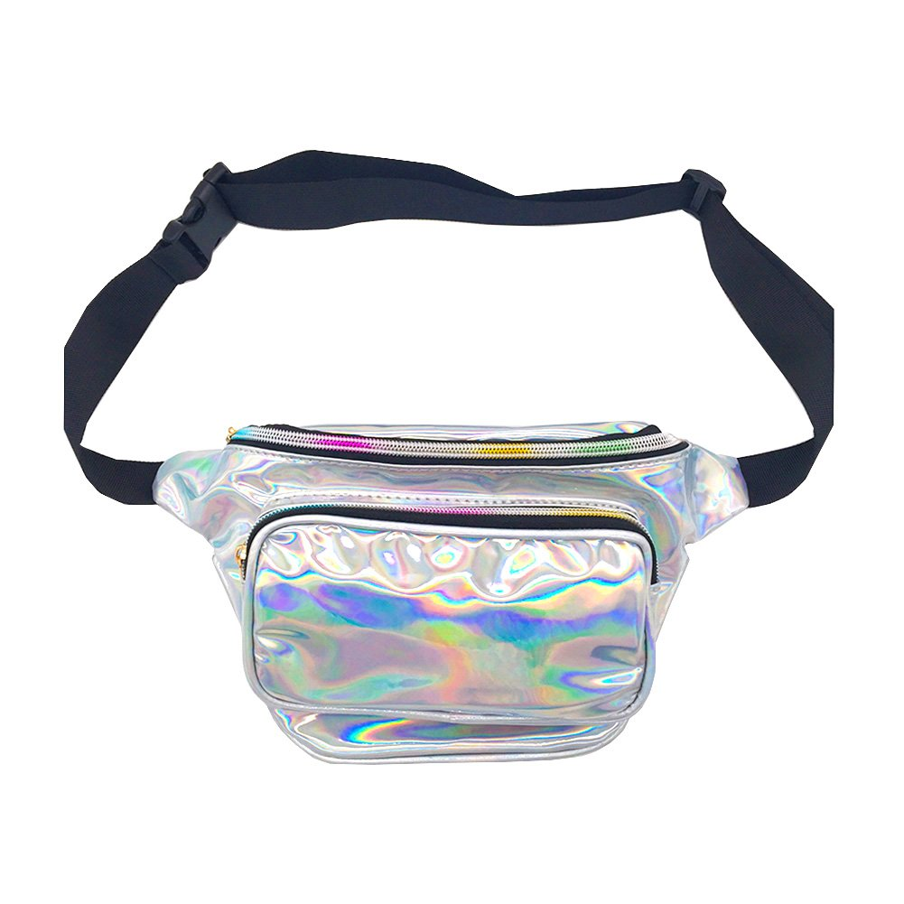 CHAOM Women Laser Waist Bag Waterproof Shiny Neon Fanny Bag Bum Bag Beach Purse (silver)