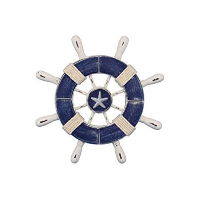 """Handcrafted Nautical Decor Rustic Dark Blue and White Decorative Ship Wheel with Starfish 9"""" - Wooden Ship: Toys & Games"""