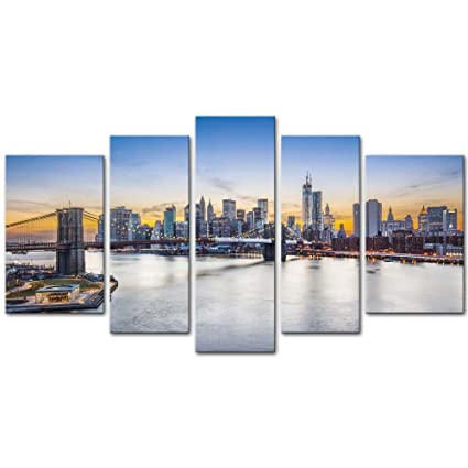 5 Pieces Modern Canvas Painting Wall Art The Picture For Home Decoration New York City Over