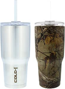 Reduce Tumbler, 34oz 2 Pack – Reduce Cold-1 Tumblers With Lid and Straw – 24 Hours Cold – Sweat-Proof Body – Cupholder Friendly, Use for Water or Coffee – Stainless & Realtree Camo