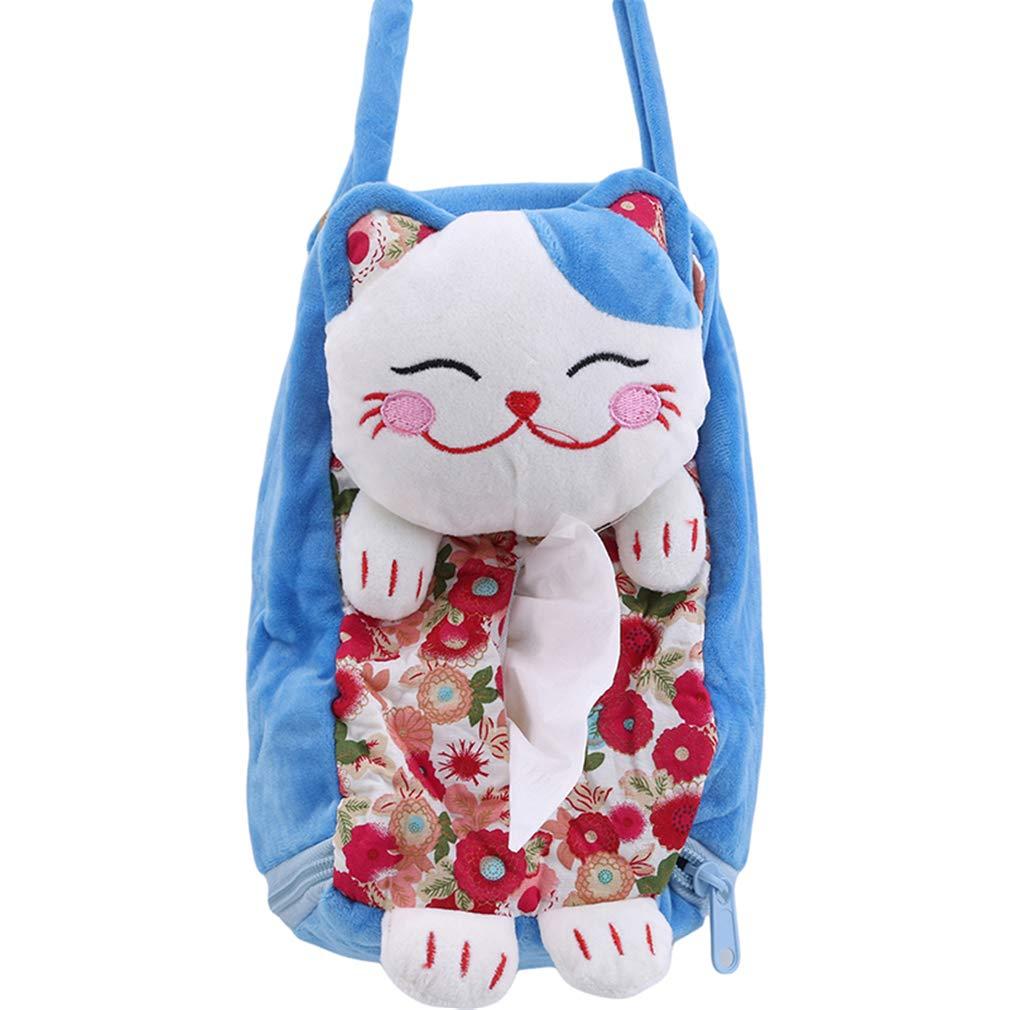 Yeucan multifunktionale gl/ückliche Katze h/ängen Tissue Box Car Cartoon niedlichen Papiertuch Tasche Serviette Tissue blau