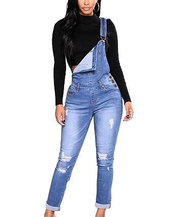 Mujer Peto Vaquero con Bolsillo Mono Jeans Casual Slim Fit ...