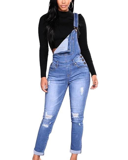 27419b6550af9 Mujer Peto Vaquero con Bolsillo Mono Jeans Casual Slim Fit Pantalones Ocio  Denim Dungarees  Amazon.es  Ropa y accesorios