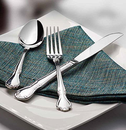 Winco Chantelle 3 Dozen Flatware Set, Extra Heavy 18-0 Stainless Steel Classic Old-Fashioned Dinner Spoons (Dozen Pack), Dinner Forks (Dozen Pack) and Dinner Knives (Dozen Pack), 36-Piece Set