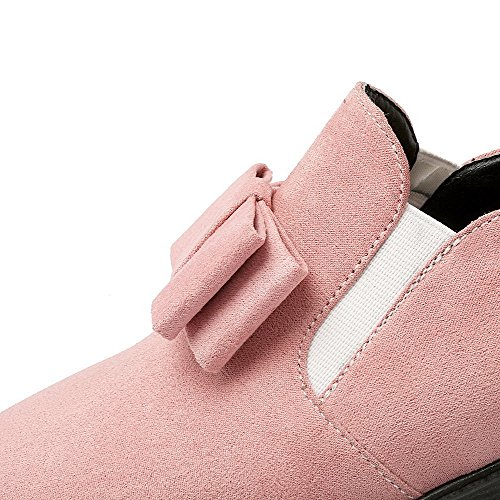 AllhqFashion Mujer Puntera Cerrada Puntera en Punta Sin cordones Gamuza(Imitado) Sólido Mini Tacón De salón Rosa
