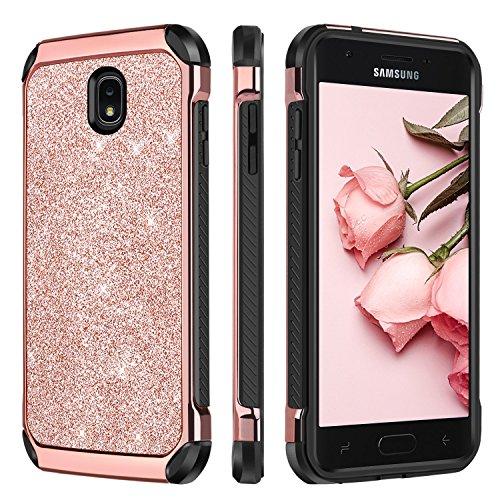 BENTOBEN Case for Samsung Galaxy J3 2018/J3 Star/J3 V 3rd Gen/Amp Prime 3/Express Prime 3/J3 Achieve/J3 Emerge/J3 Orbit/Sol 3, Bling Shockproof Protective Case for J3 3rd Gen 2018 Release, Rose gold