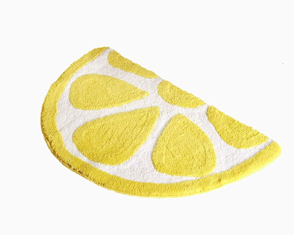 Baby Playtime Cozy Lemon Cute Fruits Half Round Shaped Bedroom Bathroom Doorway Kitchen Floor Rug Carpet Water Absorption Non-Slip mat for Kid's Room (Yellow, 50x80CM)