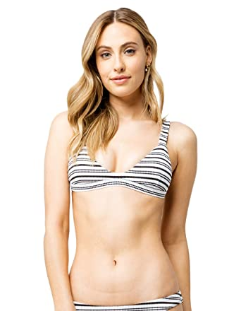 017a8852f245c Amazon.com: Full Tilt Textured Stripe Trilet Bikini Top, Black/White,  Medium: Clothing