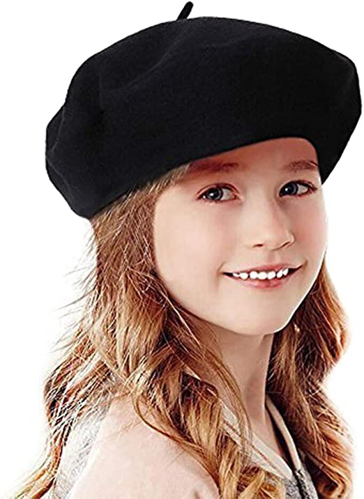 French Beret for Girls Artist Hat for Girls 1A2B3C Wool Berets for Girls