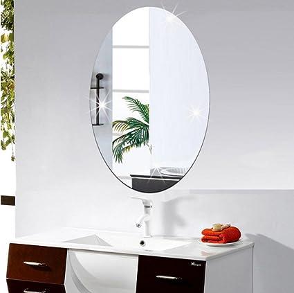 Amazon.com: neartime de espejo calcomanía de pared Oval ...