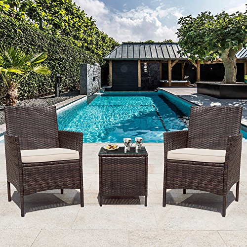 Flamaker 3 Pieces Patio Furniture Set Modern Outdoor Furniture Sets Clearance Cushioned PE Wicker Bistro Set Rattan Chair Conversation Sets with Coffee Table (Brown Wicker) by Flamaker (Image #4)'