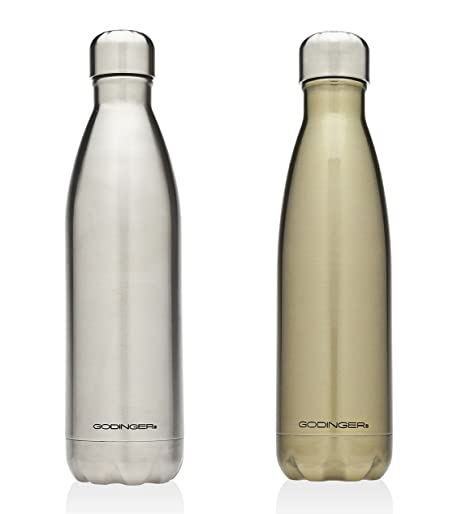 82171a3f62 Amazon.com: Godinger 19272 Stainless Steel Hot/Cold Water Bottle, Silver,  17 oz (Set of 2): Kitchen & Dining