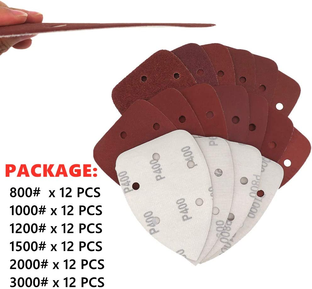 Mouse Sandpaper 72Pcs Mouse Detail Sandpaper Sanding Sheets Hook and Loop Mouse Sandpaper 800//1000//1200//1500//2000//3000 Grits