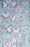 Tablecloth Fabric Autumn Thanksgiving Fall Floral Harvest French Toile Pattern Gray and White on Light Green, Well Dressed Home -- 60 Inches by 104 Inches