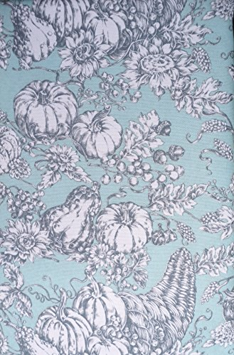 Tablecloth Fabric Autumn Thanksgiving Fall Floral Harvest French Toile Pattern Gray and White on Light Green, Well Dressed Home -- 60 Inches by 84 Inches (Fabric Toile Designer)