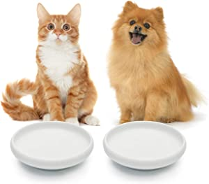 MSBC Cat Food Water Bowl, Wide Shallow Ceramic Cat Dish, Non Spill Pet Bowl Porcelain,10oz, Pack of 2
