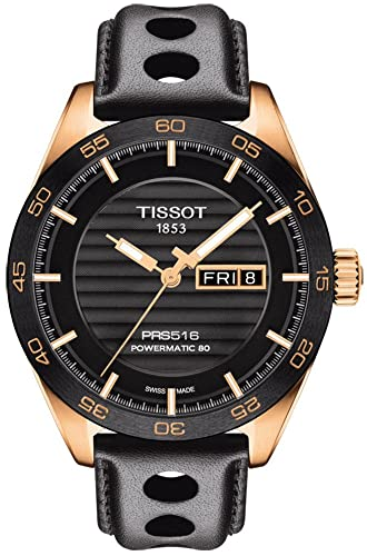 Tissot PRS 516 Powermatic 80 - Reloj automático para hombre, esfera analógica negra con fecha de segundo ...