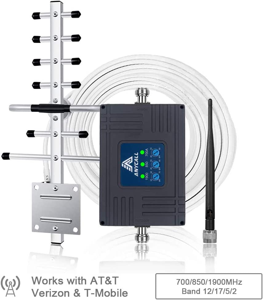 AT&T Cell Phone Signal Booster for Home & Camp - Support AT&T, T-Mobile, Verizon 3G 4G LTE FDD- Boost Call, Text & Data Signal - Band 2/5/12/17 850/1900/700MHz ATT Cellular Booster Repeater & Antennas