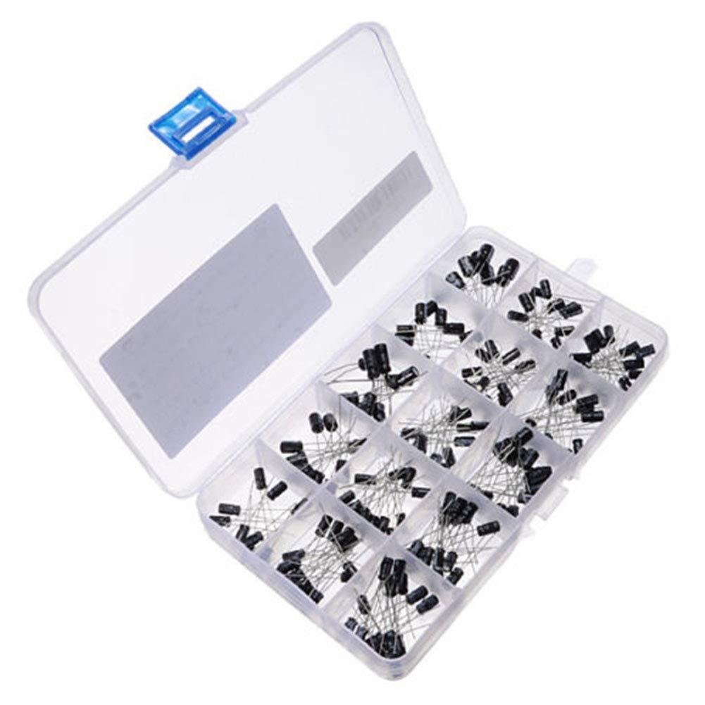 0,1 uF-330 uF kit assortito con scatola Condensatori elettrolitici da 215 pezzi//set fai da te 15 valori in alluminio 16 V//25 V//50 V
