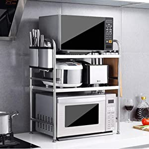 FCSFSF 3 Tier 304 Stainless Steel Microwave Oven Rack,Kitchen Cabinet and Counter Shelf Organizer Storage Rack,20.86''x14.17''x27.56'',Silver