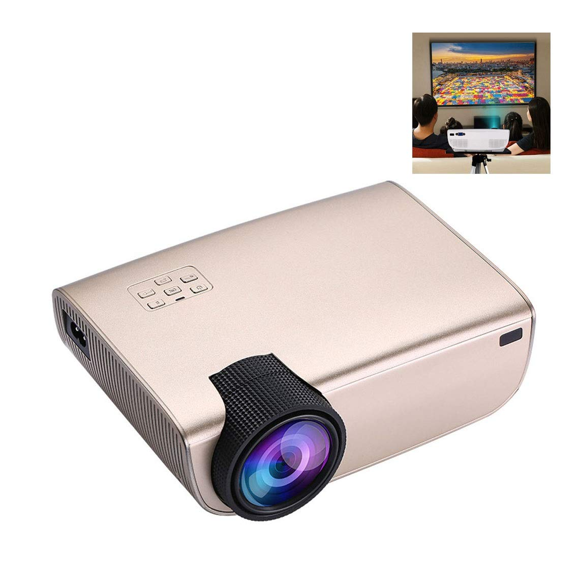 Full HD 1080P Video Projector, 3,500 Lumens Home Portable Movie Projector with Native Resolution 1080,Mobile Phone Wireless Connection,with USB/Micro SD/AV/HDMI/Input (Color : Gold)