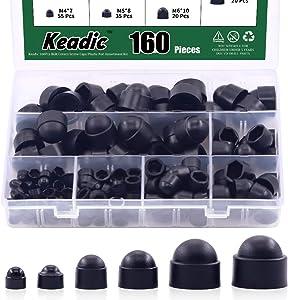 Keadic 161Pcs Bolt Covers Screw Caps Plastic Nut Assortment Kit with Storage Box, M4 M5 M6 M8 M10 M12 Durable Nylon Insert Locknut for Matching Screws or Bolts, Black