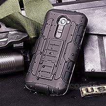LG G2 VS980 Case, Cocomii Robot Armor NEW [Heavy Duty] Premium Belt Clip Holster Kickstand Shockproof Hard Bumper Shell [Military Defender] Full Body Dual Layer Rugged Cover (Black)
