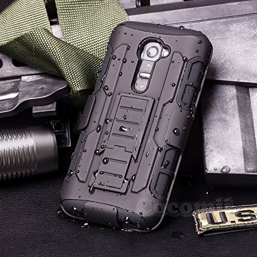 LG G2 VS980 Case, Cocomii Robot Armor NEW [Heavy Duty] Premium Belt Clip Holster Kickstand Shockproof Hard Bumper Shell [Military Defender] Full Body Dual Layer Rugged Cover (Black) (Phone Lg G2 Unique Case)