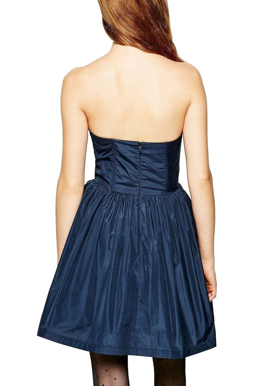 Jack Wills Delaney Strapless Boned Bodice Prom Dress, Navy, UK Size 10: Amazon.co.uk: Clothing