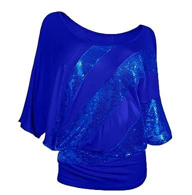 Ghope Damen Blusen Tops Oberteil mit Glitzer Pailletten Kurzarm T-Shirt 3 4- 0374ec55d9