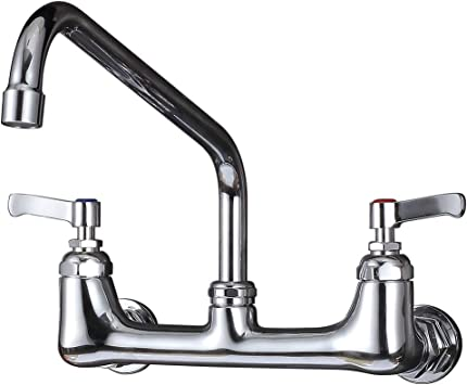 Imlezon Wall Mount Kitchen Faucet 8 Center Commercial Faucets With 12 Inch Swivel Spout Amazon Com