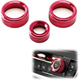iJDMTOY 3pcs Red Anodized Aluminum AC Climate Control and Radio Volume Knob Ring Covers Compatible With BMW 1 2 3 3GT 4…