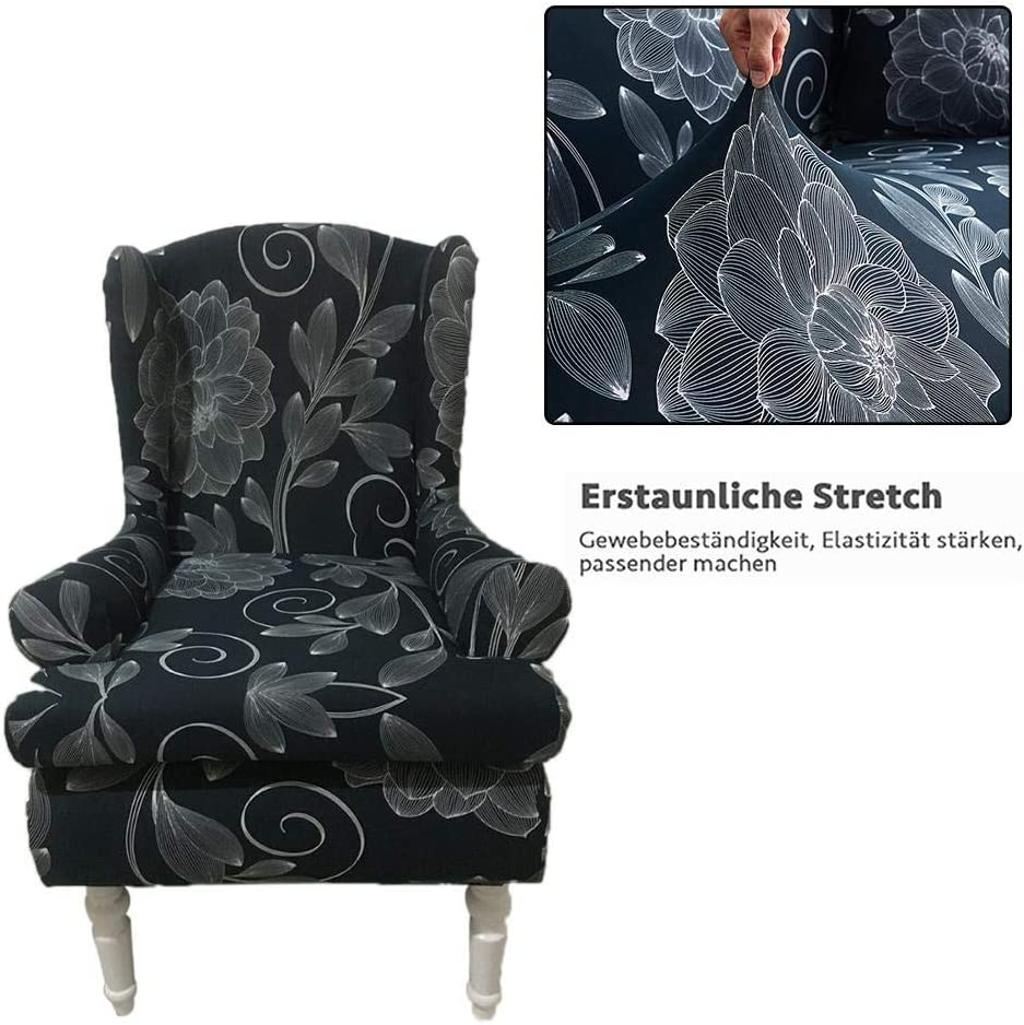 Elastic Wing Chair Cover Slipcovers,Stretchy Universal Dining Chair Cover,Removable Washable Armchair Cover Protector for Living Room