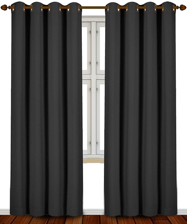 Amazon.com: Utopia Bedding 52 Inch Wide X 84 Inch Long Blackout Window  Panel Curtains, Black, Set Of 2: Home U0026 Kitchen