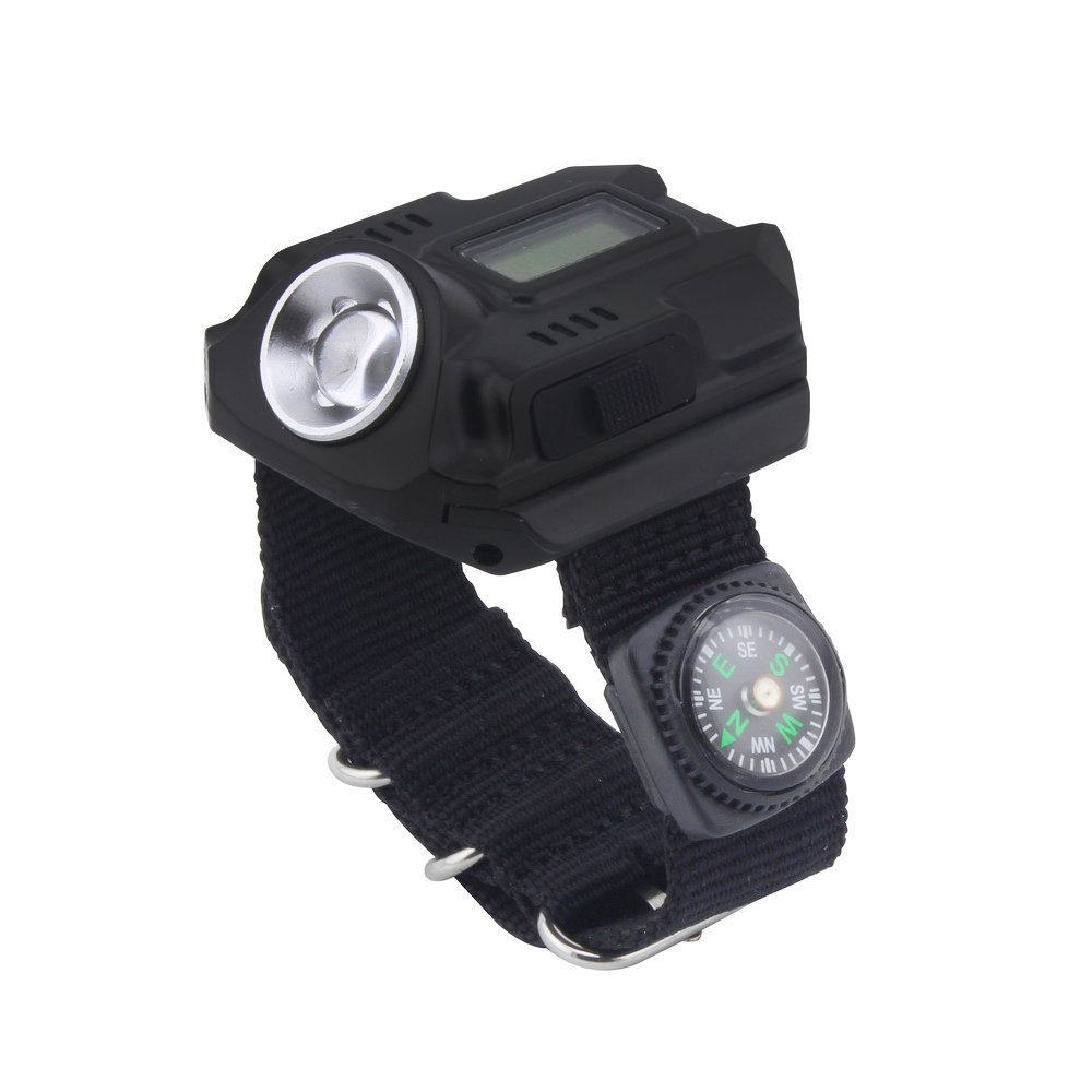 Soondar® Super Bright Wrist LED Light R5 Rechargeable Waterproof LED Flashlight Wristlight Watch with Compass Best for Running Mountain Climbing Camping Survival Hiking Hunting Patrol