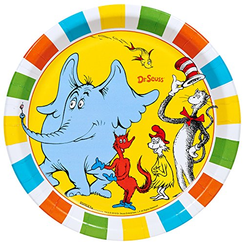 BirthdayExpress Dr Seuss Cat in The Hat Party Supplies - Dinner Plates (8) ()