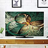 iPrint LCD TV dust Cover,Fractal,Computer Art Featured Surreal Flowers Motif Dreamy Imaginary Creative Concept,Jade Green Gold,3D Print Design Compatible 50''/52'' TV