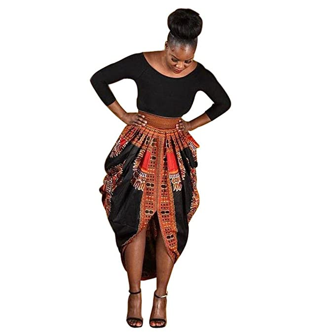 OverDose mujer De Manga Larga O-Collar Irregular Moda Africana Imprimir Casual Mini Vestidos (