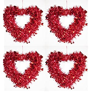 Factory Direct Craft® Group of 4 Metallic Fuchsia or Red Tinsel Heart Wreaths for Valentine's and Decorating 38