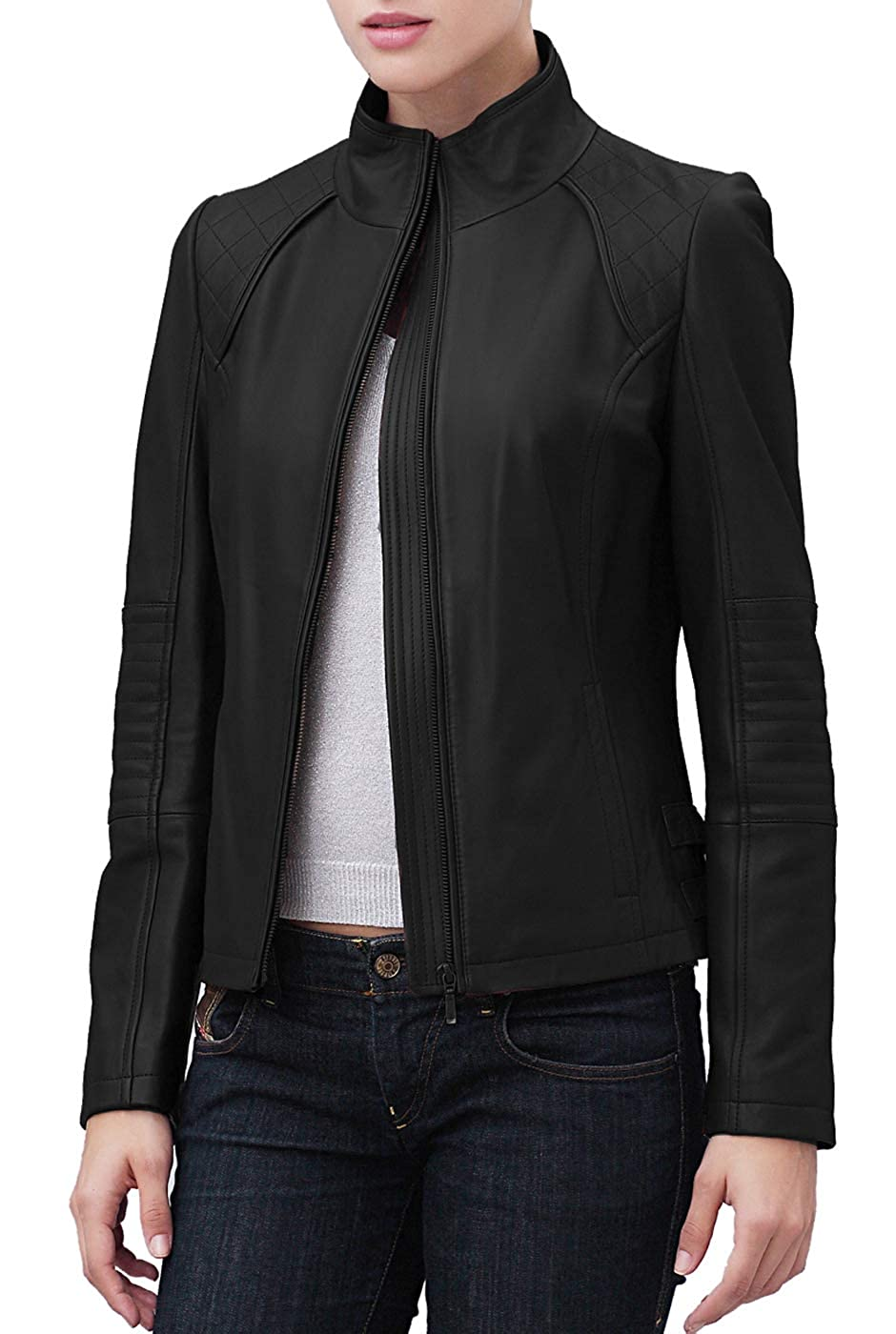 e9f2ec9e9b1 BGSD Women s Dakota Lambskin Leather Scuba Jacket (Regular   Plus Size) at  Amazon Women s Coats Shop