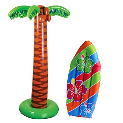 4E's Novelty Tropical Inflates, 1 inflatable Palm Tree 66 inches - 1 Inflatable Surfboard 36 inches - Luau Party Decor, Great for Pool and Beach Party Favors Supplies: Toys & Games