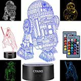 3D Illusion Star Wars Night Light for Kids, 4 Pattern and 7 Color Change NightLight - Perfect Gifts for Birthday and Christmas, Great for Boys Girls Baby and Any Star Wars Fans (Set 2)