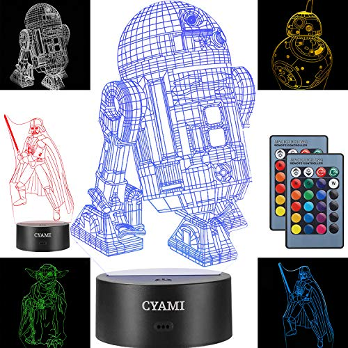 3D Illusion Star Wars Night Light for Kids, 4 Pattern and 7 Color Change NightLight - Perfect Gifts for Birthday and Christmas, Great for Boys Girls Baby and Any Star Wars Fans (Set 2)]()
