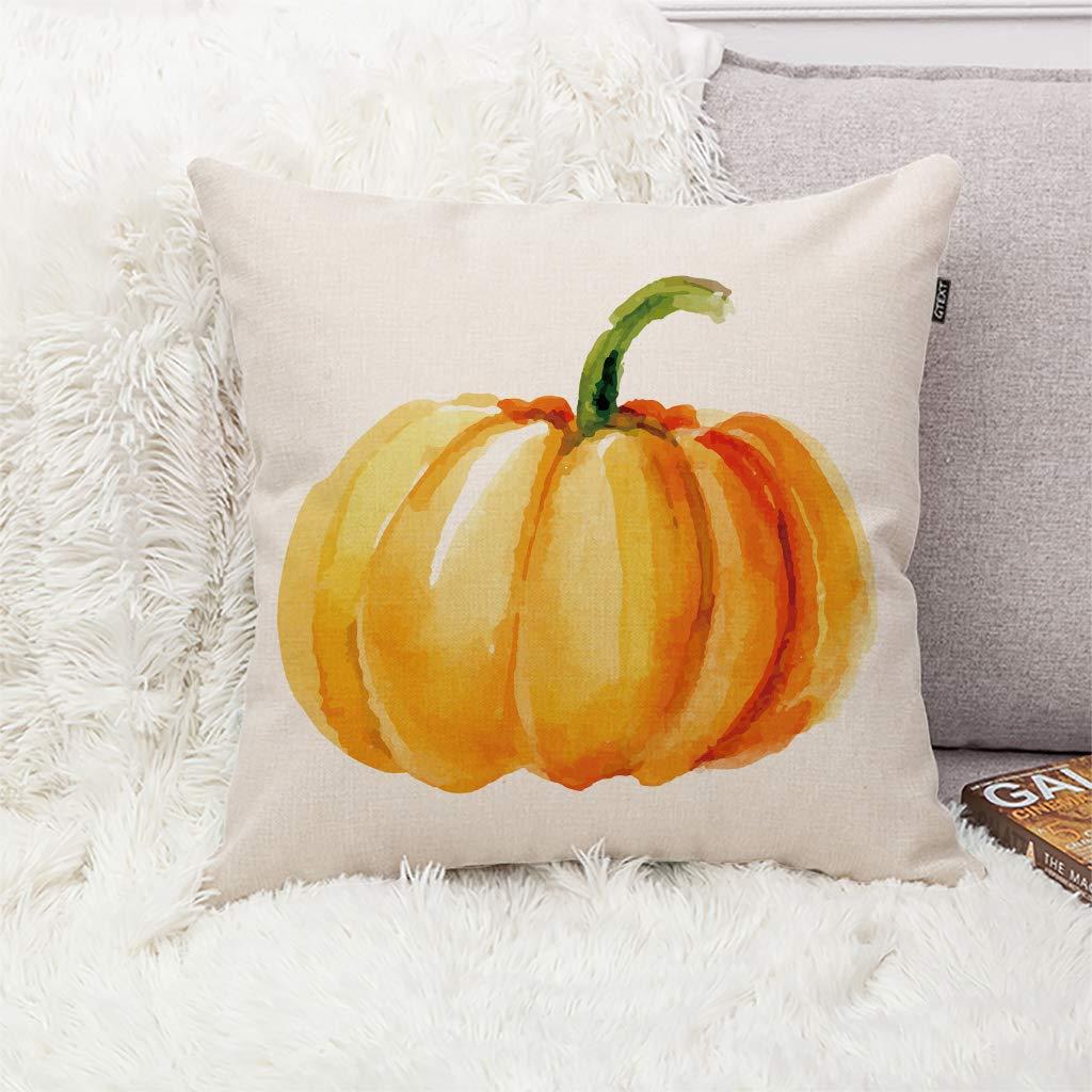 Fall Pumpkin Throw Pillow Cover Autumn Decor Handrawing Pumpkin Pillow Cuhion Cover Case For Couch Sofa Home Decoration Fall Pillows Linen 18 X 18 Inch Throw Pillow Covers Home Kitchen